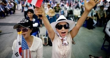 التيار المحافظ فى كوريا الجنوبية يطلق تظاهرات لمناهضة بيونج يانج