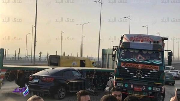 ننشر صور حادث سيارة نجل الفنانة منى عبدالغني بعد نجاته من الموت