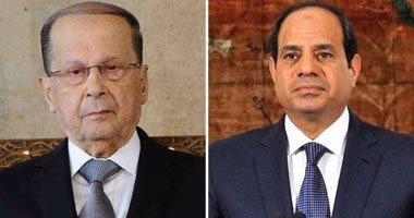 """السيسى يهنئ """"ميشال عون"""" هاتفيا ويشيد بإعلاء اللبنانيين المصلحة الوطنية"""