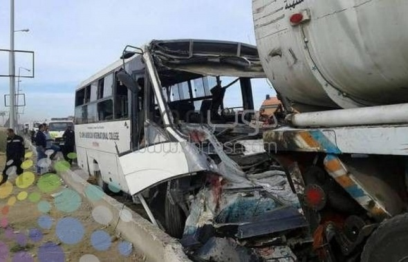 الإسعاف: 3 وفيات وإصابة 13 في حادث أتوبيس مدرسة بطريق السويس