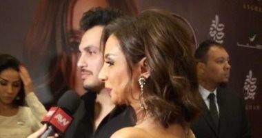 حالة حب بين أنغام وأحمد ابراهيم على السجادة الحمراء بحفل توقيع ألبومها