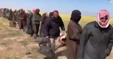 شاهد.. لحظة استسلام مئات العناصر الداعشية لقوات سوريا الديمقراطية بالباغوز