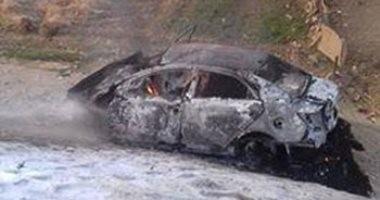 النيران تلتهم سيارة ملاكى وتصيب قائدها فى المنوفية