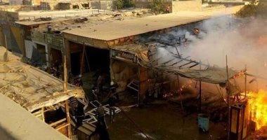 حريق هائل بسوق الجمعة فى السيدة عائشة والحماية المدنية تسيطر عليه