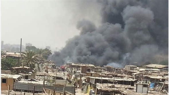 الحماية المدنية بالقاهرة تخمد حريقا هائلا بسوق التونسي دون أصابات