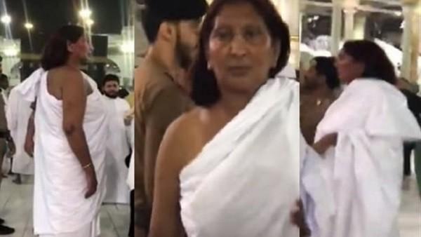 فيديوجراف| أمن الحرم ينهي الجدل حول سيدة بملابس إحرام الرجال