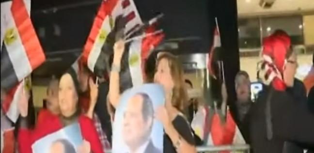 فيديو.. الجالية المصرية في نيويورك تحتشد لاستقبال السيسي