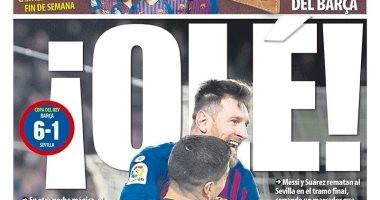 ريمونتادا برشلونة ضد إشبيلية حديث الصحافة الإسبانية.. فيديو وصور