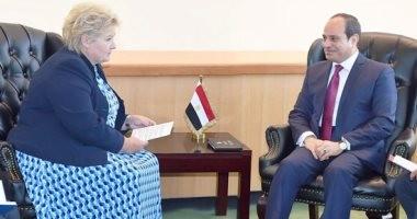 رئيسة وزراء النرويج تؤكد للسيسي دور مصر المحورى لحفظ استقرار الشرق الأوسط
