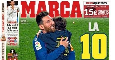"""""""الـ 10 لصاحب الرقم 10"""".. الصحافة الإسبانية تحتفل بزعامة برشلونة.. صور"""