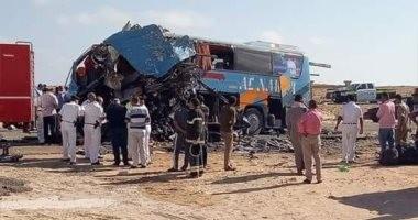 إصابة 7 أشخاص فى حادث تصادم أتوبيس وسيارة ملاكى بطريق السخنة