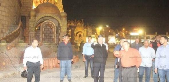 بالصور| محافظ جنوب سيناء يتفقد أعمال تجميل مسجد الصحابة