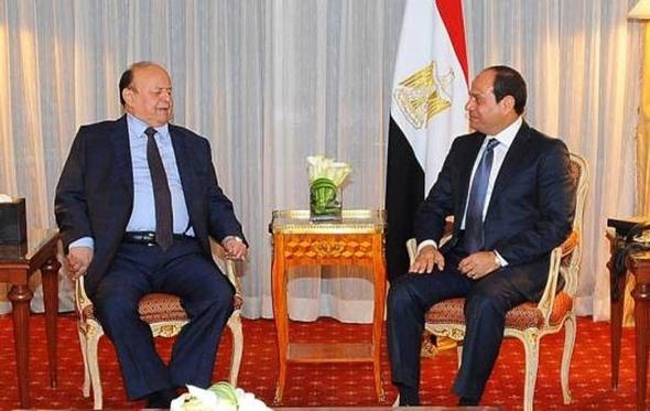 """السيسي يؤكد لـ""""هادي"""" حرص مصر على دعم جهود استقرار اليمن ووحدتها"""