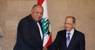 وزير الخارجية يسلم الرئيس اللبنانى رسالة من السيسي تدعوه لزيارة مصر