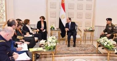 السيسي يلتقى وزيرة الجيوش الفرنسية ويثمن التعاون العسكري بين القاهرة وباريس