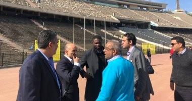 وفد الكاف يتفقد عمليات تطوير إستاد القاهرة.. صور