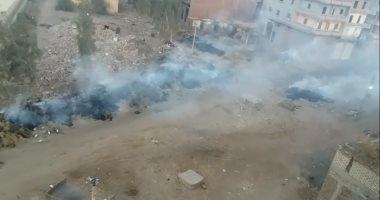 أدخنة تتصاعد لمدة يومين نتيجة حرق مخلفات بقرية درين بالدقهلية